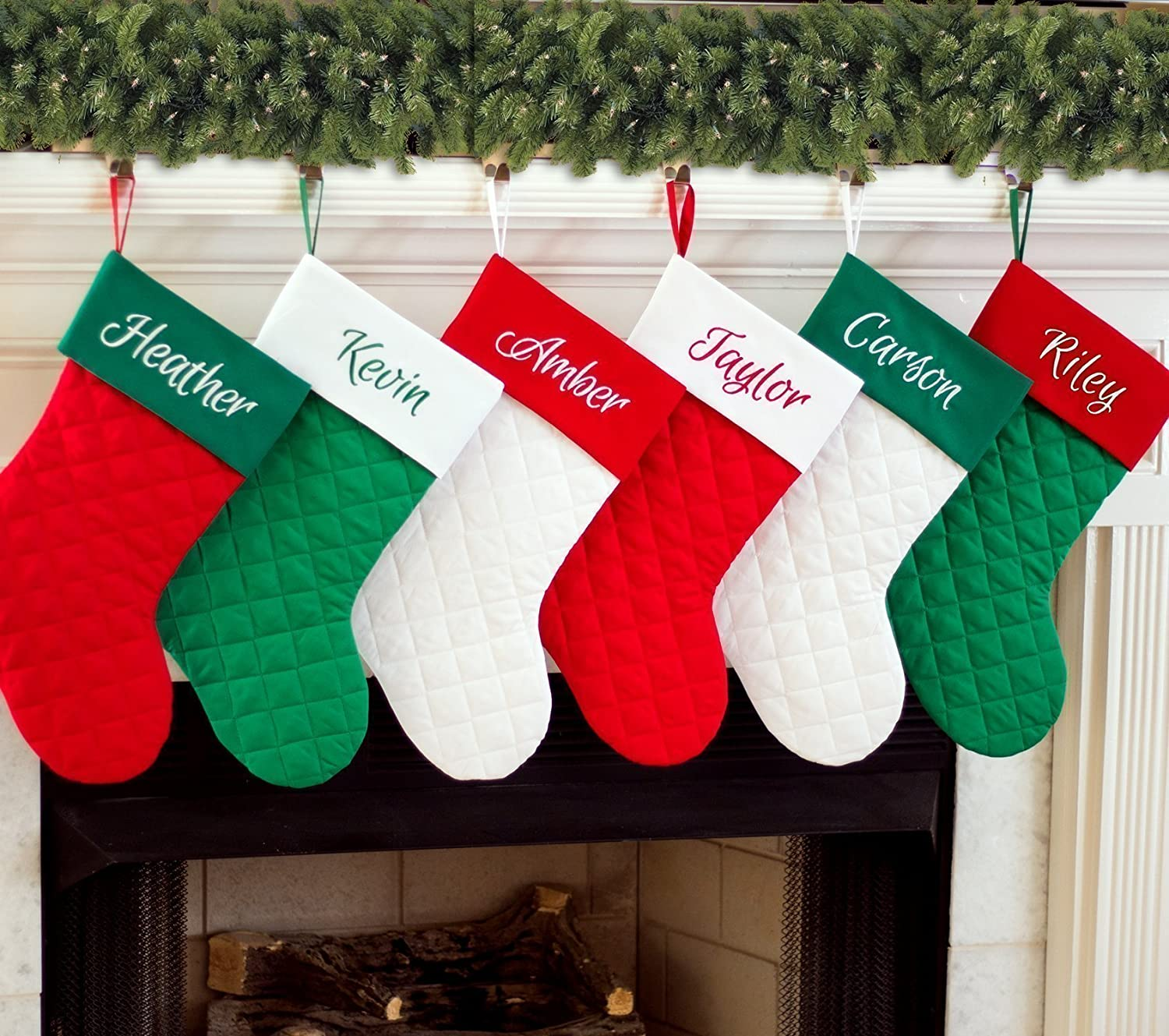 Personalized Christmas Stocking | Quilted Red, White and Kelly Green