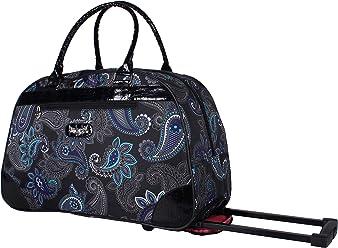 Kathy Van Zeeland Luggage 22 Inch Rolling Carry On Printed Wheeled Duffel (Diva Black,