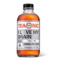 I LOVE MY BRAIN - Herbal Tea - Lemongrass Tea - Ginger Root - Hibiscus Tea - Lemon Ginger Tea - Detox Tea - Organic Ginkgo Biloba - Energy Tea - Caffeine Free Tea - 8 fl oz. Each - 12 Pack - TEAONIC