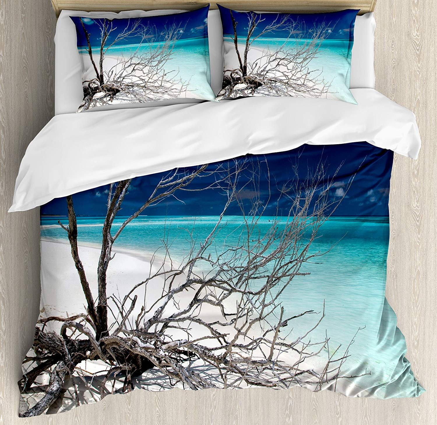 Driftwood Bedding Duvet Cover Sets for Children/Adult/Kids/Teens Twin Size, Seascape Theme Driftwood on The White Sandy Beach Coastal Digital Image, Hotel Luxury Decorative 4pcs, Turquoise and Blue