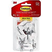 Small Wire Hooks Mega Pack, White, 28-Hooks, 32-Strips, Organize Damage-Free