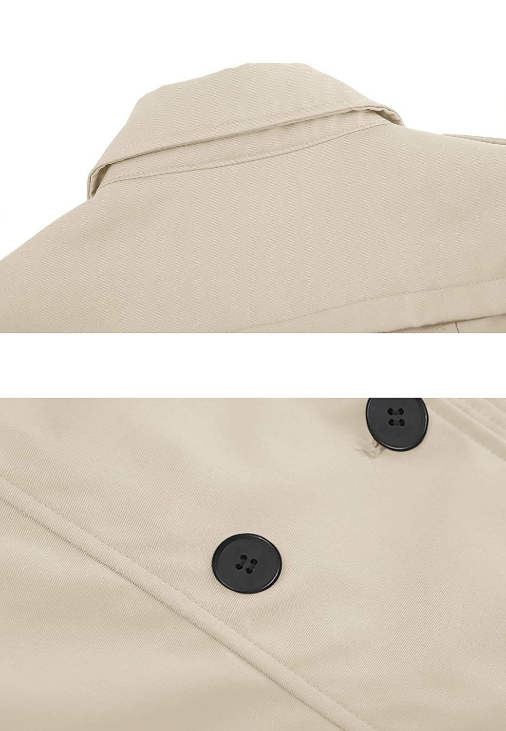 Wantdo Womens Double-Breasted Trench Coat with Belt
