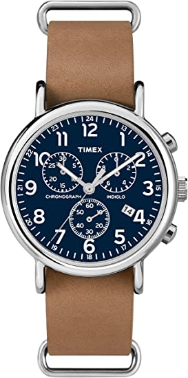 3392ded0d Timex TW2P62300GP Weekenders Chronograph Blue Watch with Tan Leather Strap:  Amazon.ca: Watches