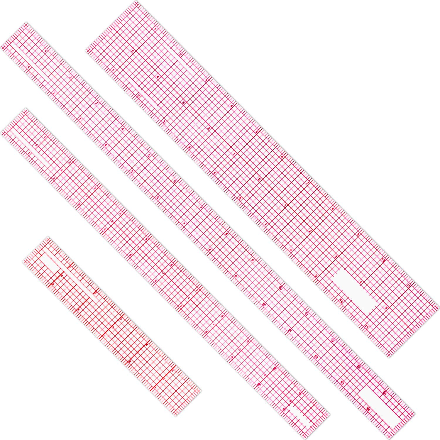 4 Pieces Beveled Transparent Ruler Clear Ruler French Inch Metric Ruler Plastic Measuring Tool Ruler Set for Clothes Design, 6 Inch, 12 Inch, 15 Inch by Pelopy