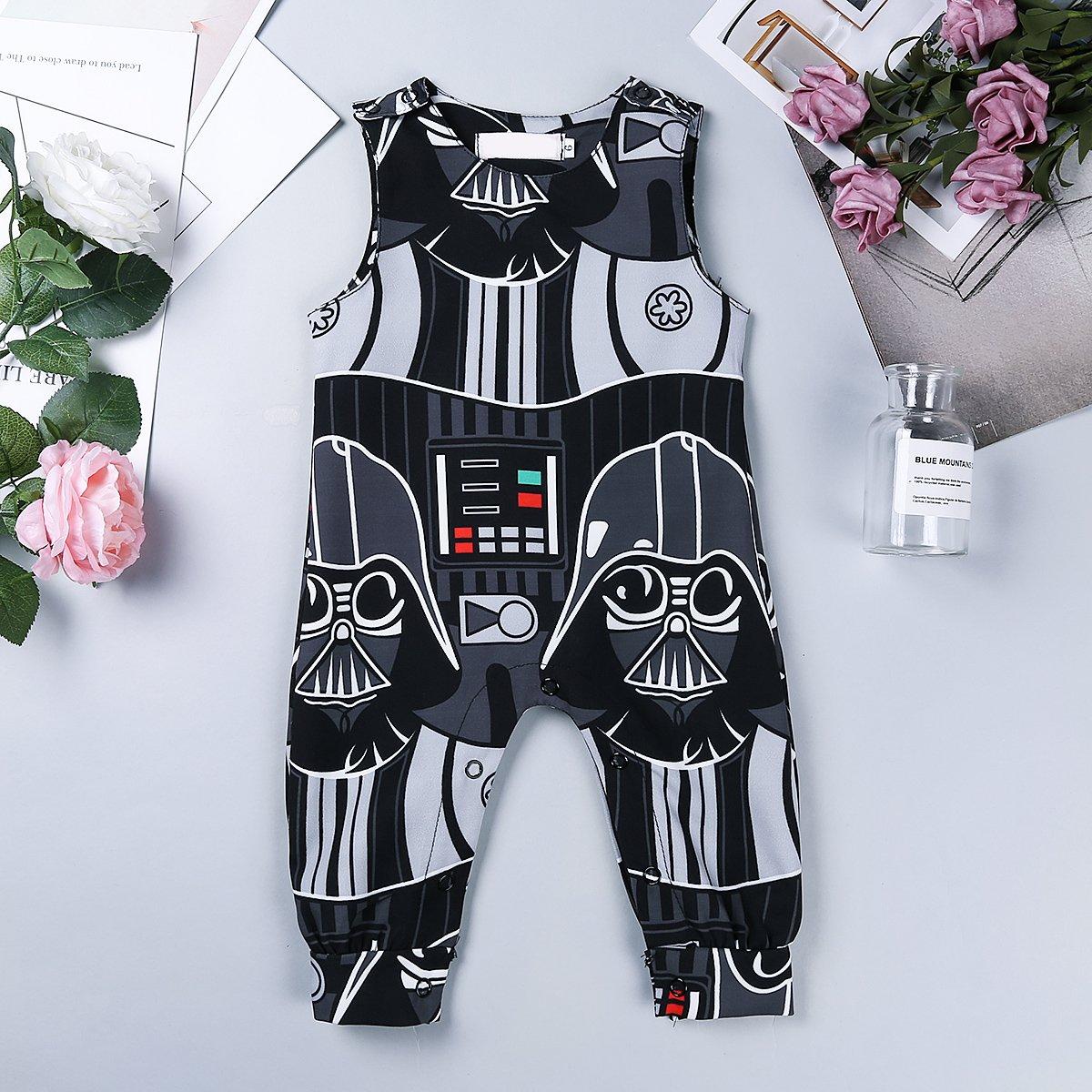 Freebily Infant Baby Boys Romper Sleeveless Printed Pattern Tops Jumpsuit