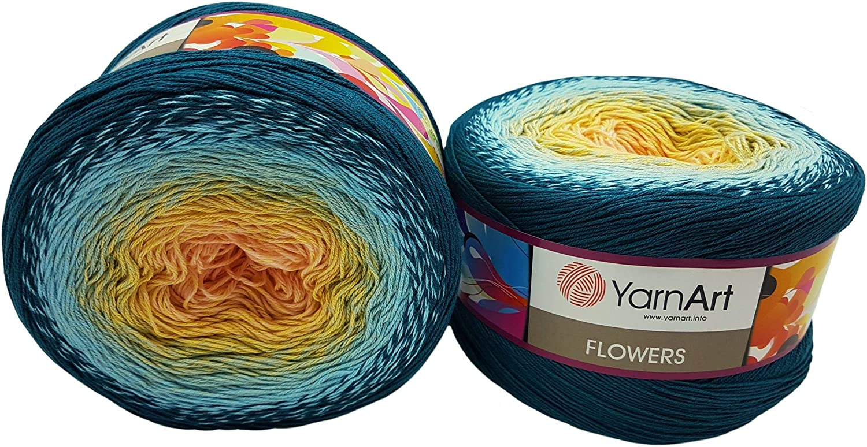 YarnArt Flowers 500 Gramm Bobbel Wolle Farbverlauf 55/% Baumwolle Beere lila beige grau 278 Bobble Strickwolle Mehrfarbig