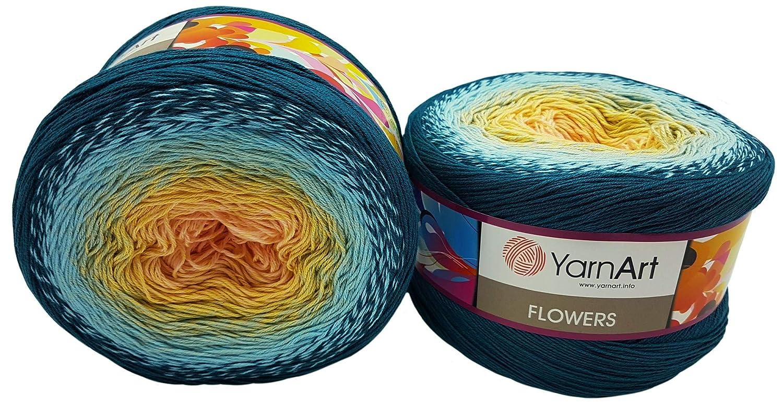500 g, 55/% algod/ón YarnArt Flowers Ovillo de Lana