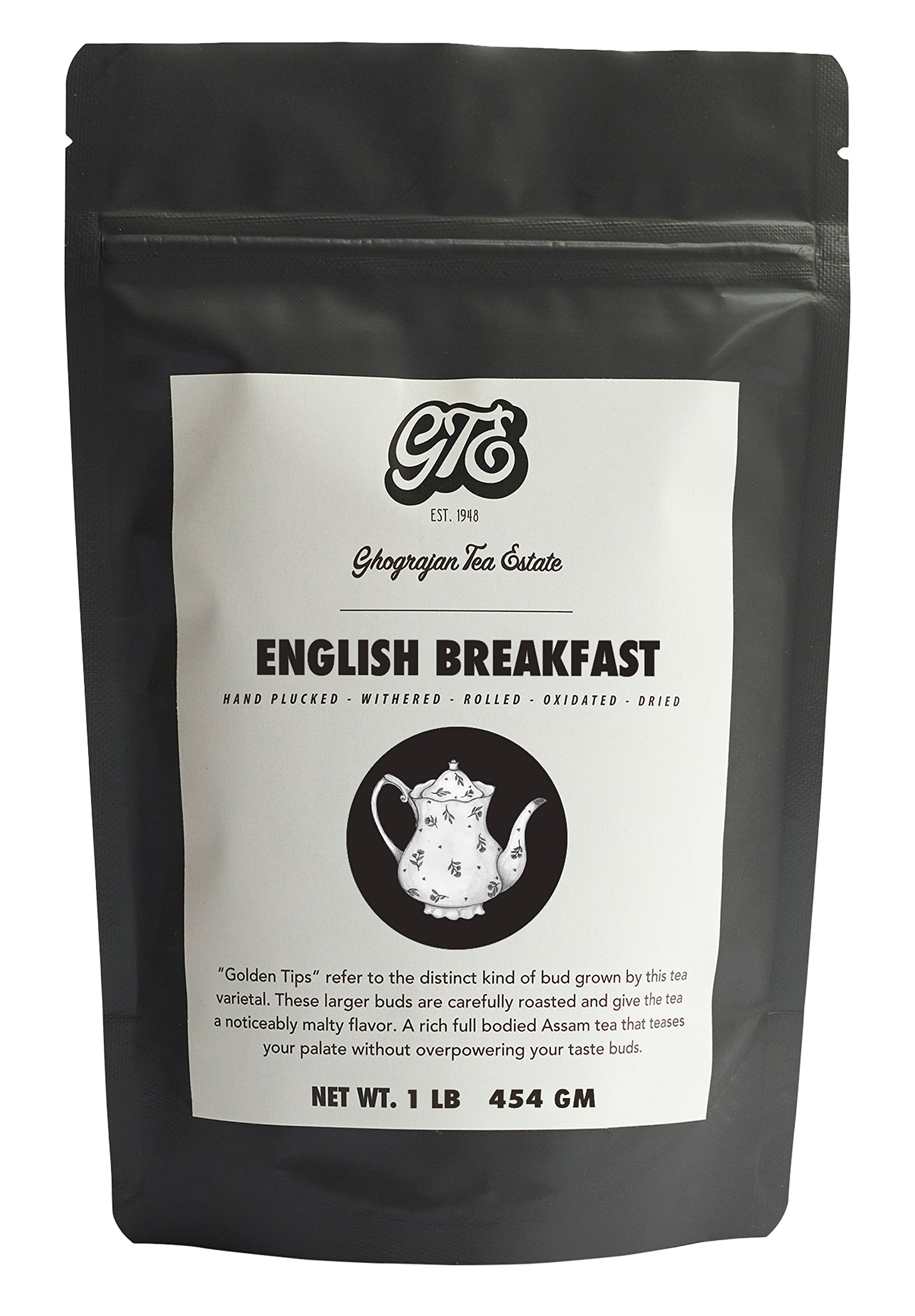 English Breakfast Loose Leaf Black Tea (200+ Servings) - 2019 Harvest - Strong Full Bodied Whole Leaf Assam Black Tea - Farm2Cup from 5th Generation Tea Farm - Bulk Pack - 1 Pound Sealable Pouch