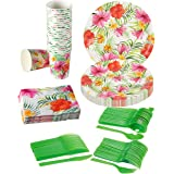 Disposable Dinnerware Set - Serves 24 - Hawaiian Luau Party Supplies - Includes Plastic Knives, Spoons, Forks, Paper Plates, Napkins, Cups