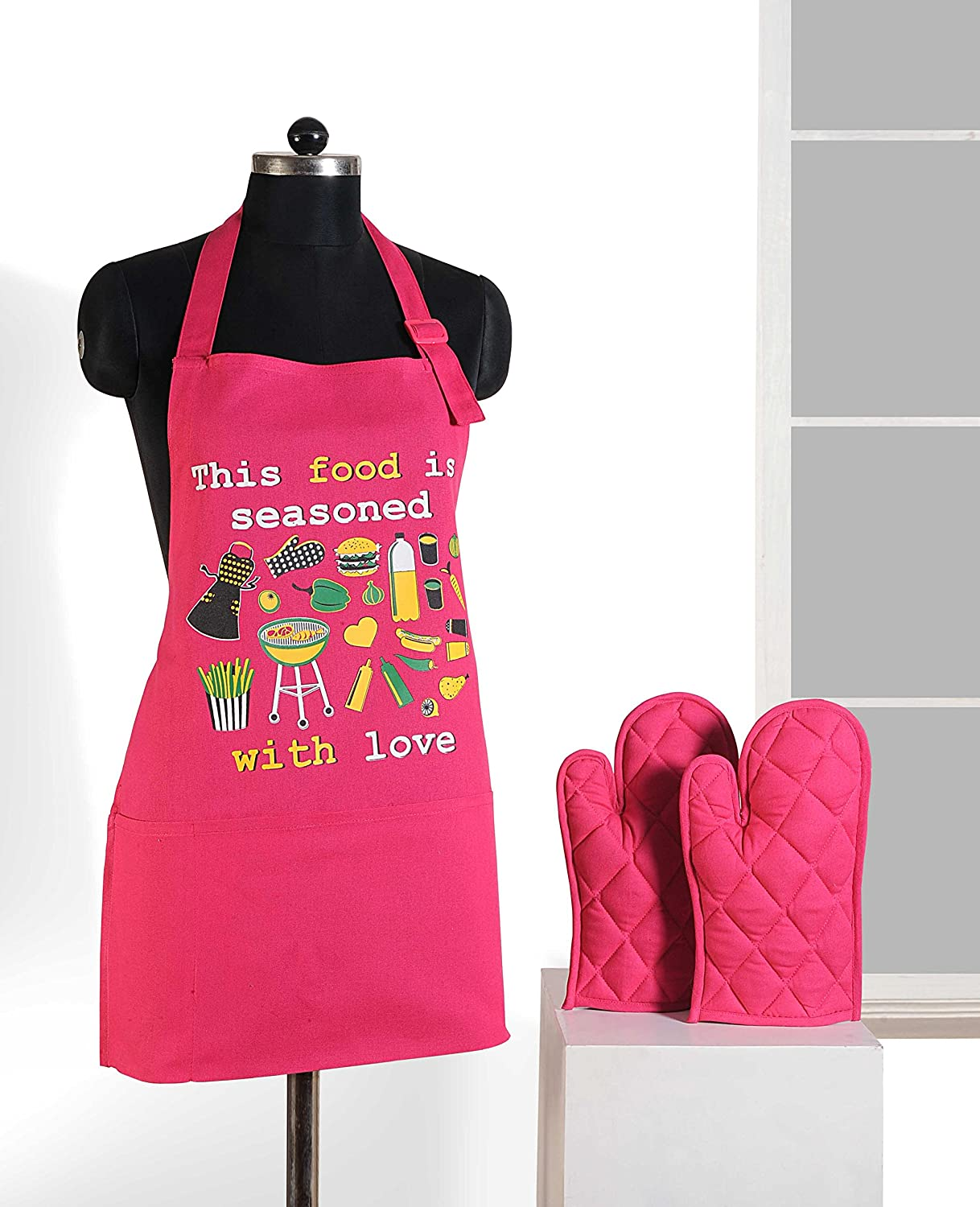ShalinIndia Graphic Screen Print Cooking Apron & Oven Mitt Set - 100% Cotton - Kitchen Gifts for Women