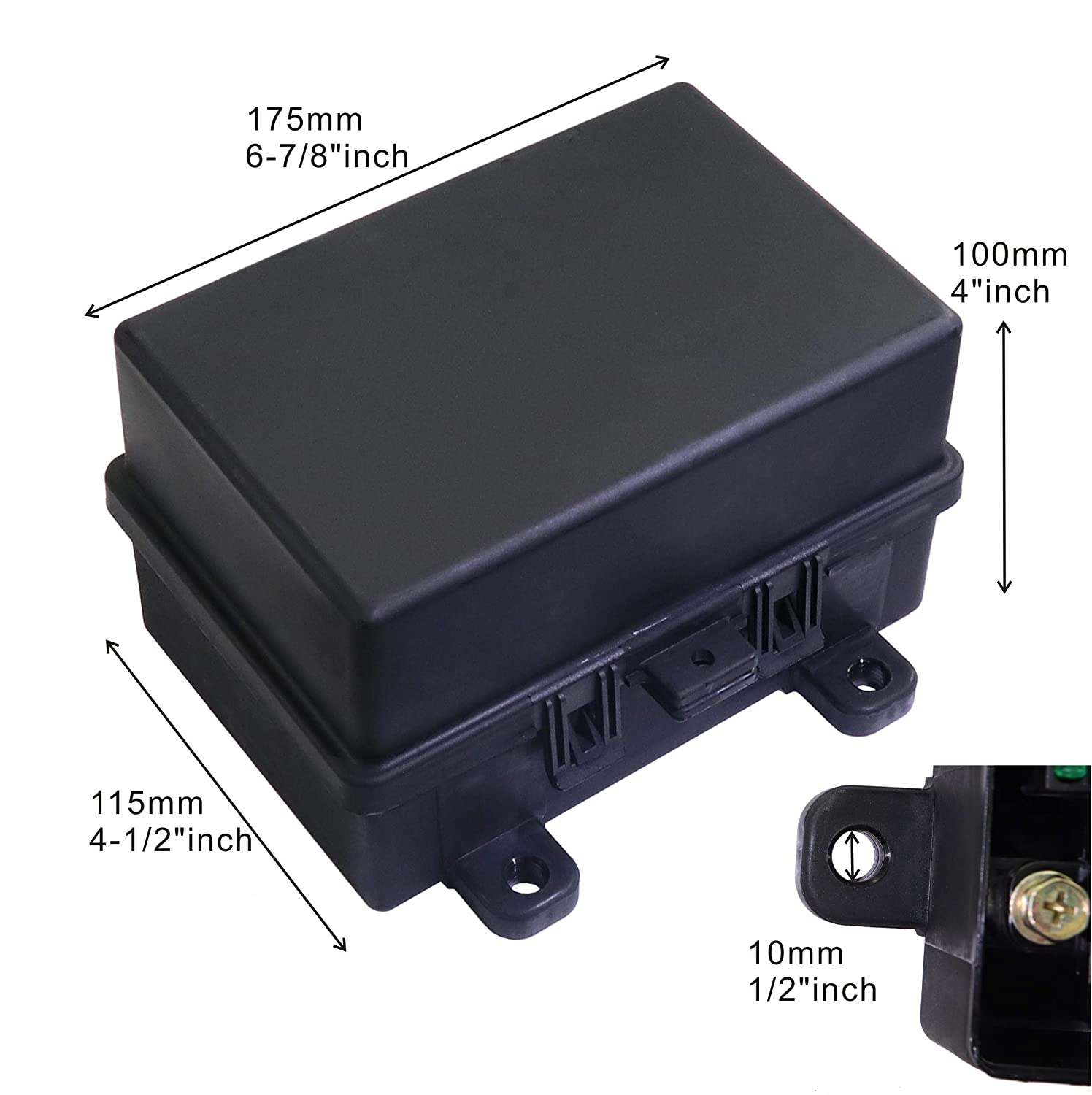 12-Slot Fuse Relay Box,6 Relays Box 6 ATC//ATO Fuses Holder Block with 41pcs Metallic Pins for Automotive and Jeep Boat Car Marine Engine Bay