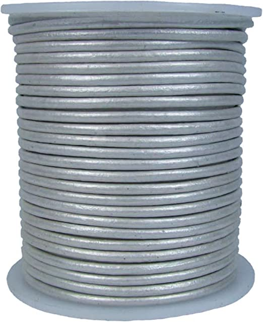 spool is not included 2mm round silver genuine leather cord 5 yards section