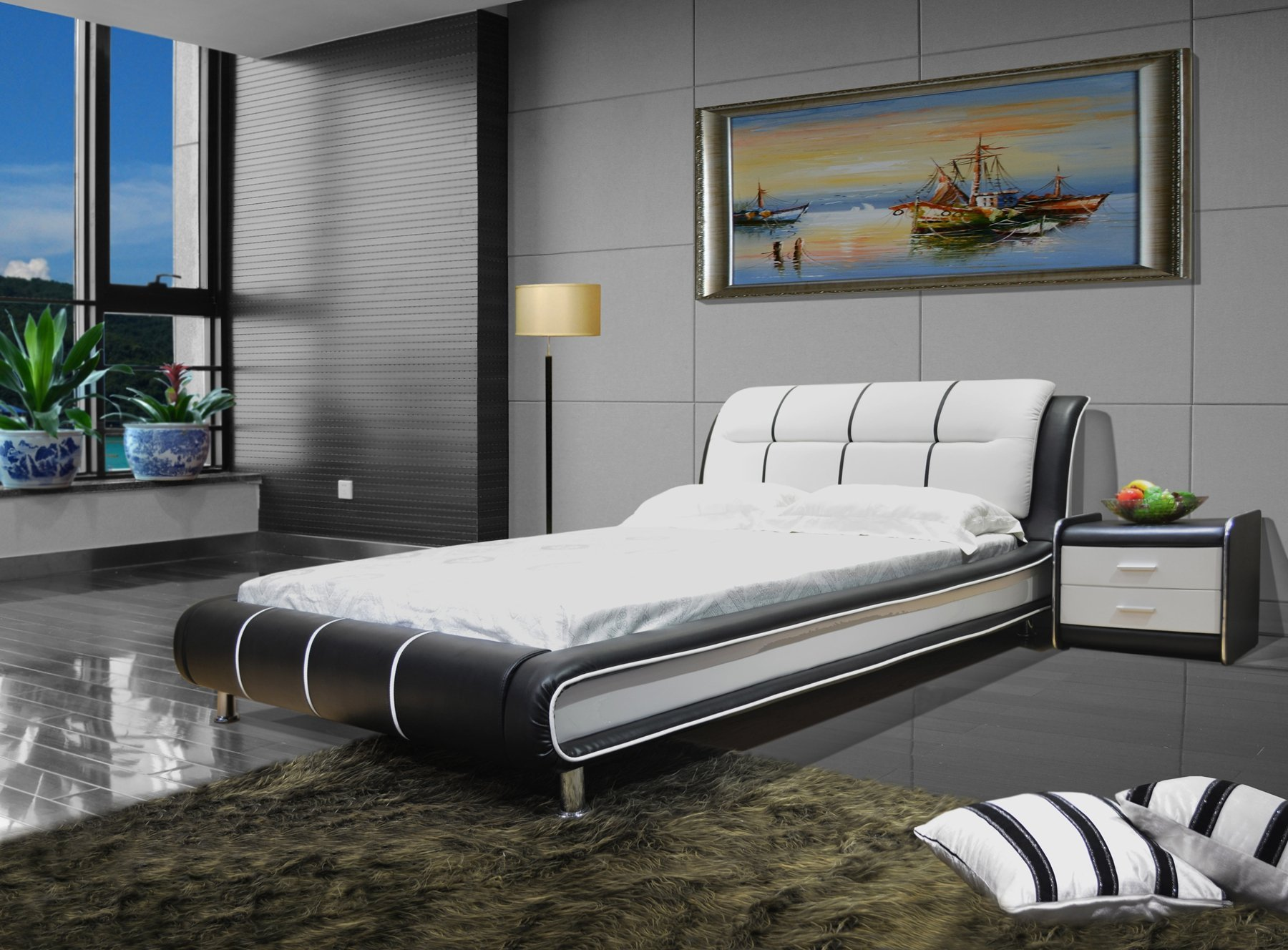 Greatime B1190 Modern Vinyl Platform Bed (Eastern King, Black&White) by GREATIME