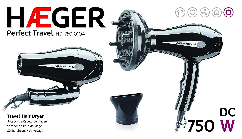 HAEGER Travel - Secador de Pelo de 750 Watts, 2 Velocidades y 2 Niveles de Temperatura, Cierre Plegable.: Amazon.es: Hogar