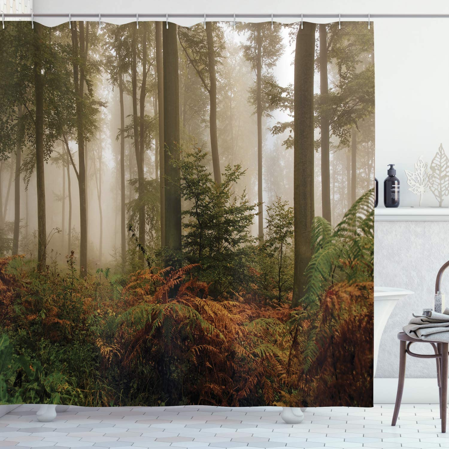 Ambesonne Forest Shower Curtain, Mystic Dark Fog Atmosphere Deep in The Forest Woodland Nobody Silence Image, Cloth Fabric Bathroom Decor Set with Hooks, 70