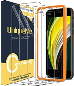 [4 Pack] UniqueMe Screen Protector for iPhone SE 2020 Tempered Glass, [Easy Installation Frame] HD Clear [Anti-Scratch] [Bubble Free]
