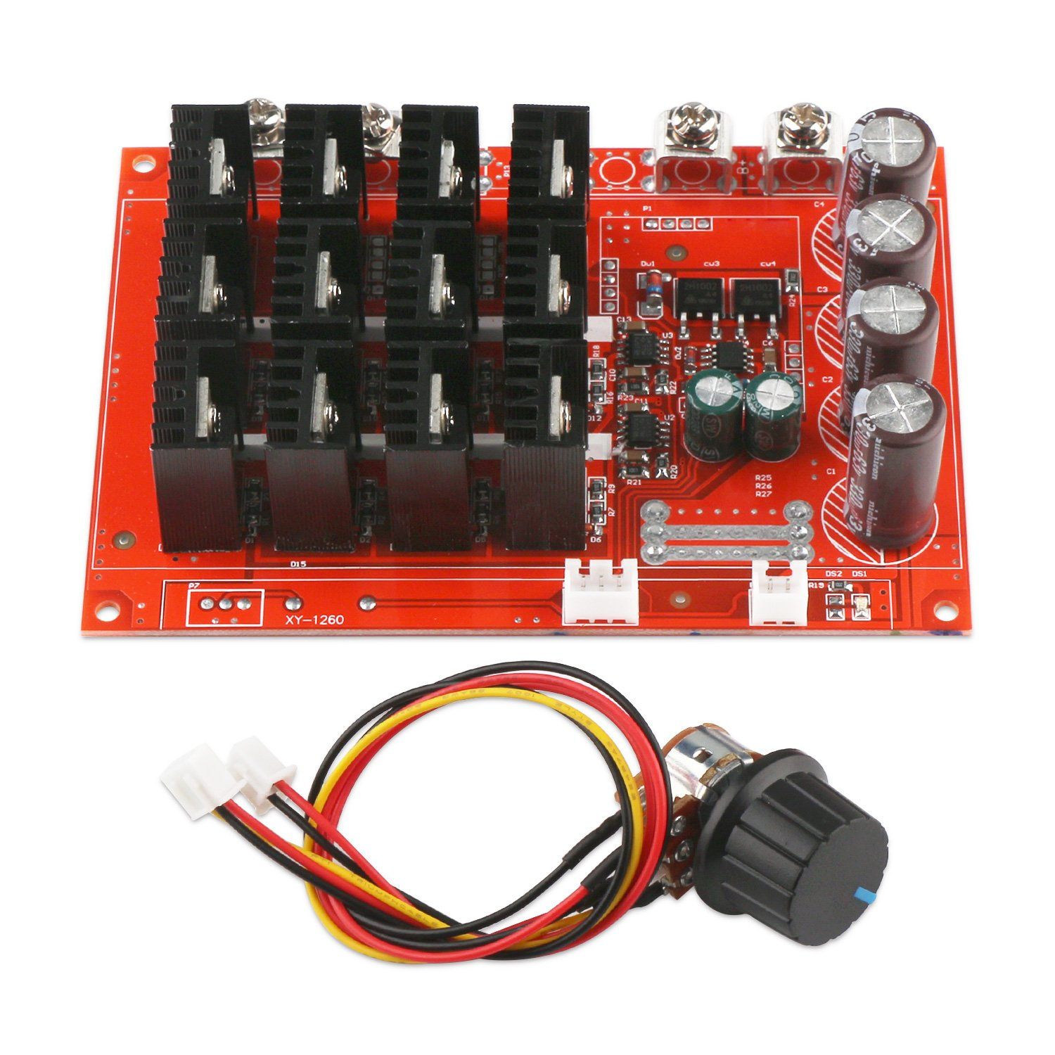 Motor Speed Control Board, DROK DC 10-50V 60A High Power Motor Speed Controller PWM HHO Driver Controller Module 12V 24V 48V 3000W Extension Cord with Switch