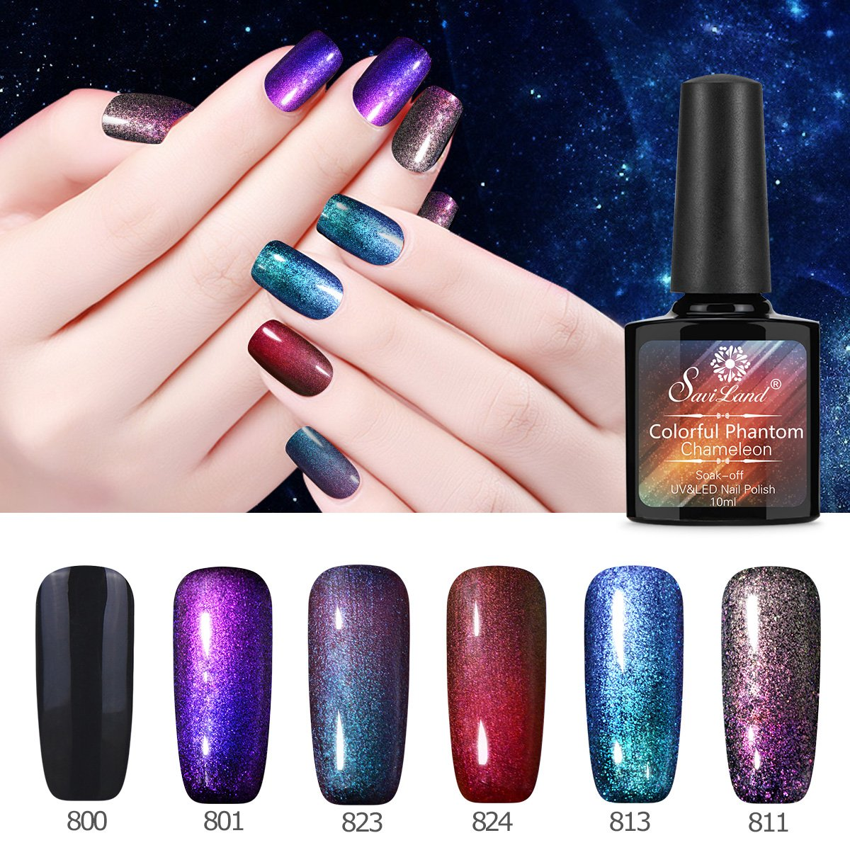5 Chameleon Gel + Black Polish, Saviland Soak Off UV LED Gel Glitter Sparkly Nail Polish Manicure DIY Nail Art Kit 10ml