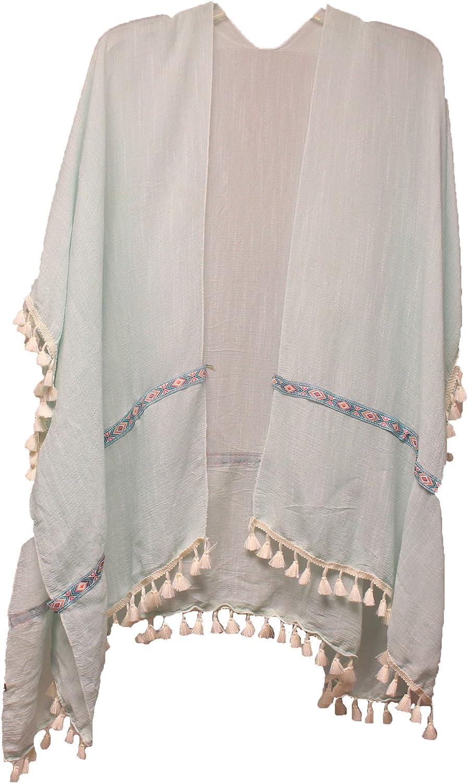 Light Blue Violet /& Virtue Womens Aztec Fringe Border Kimono