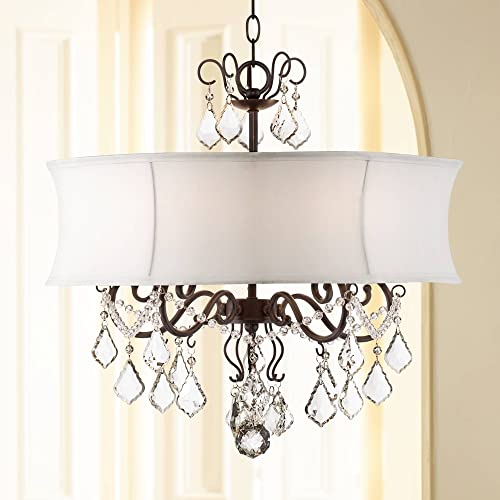 Zula Dark Bronze Crystal Pendant Chandelier 22 Wide White Fabric Shade 5-Light Fixture for Dining Room House Foyer Kitchen Island Entryway Bedroom Living Room – Vienna Full Spectrum