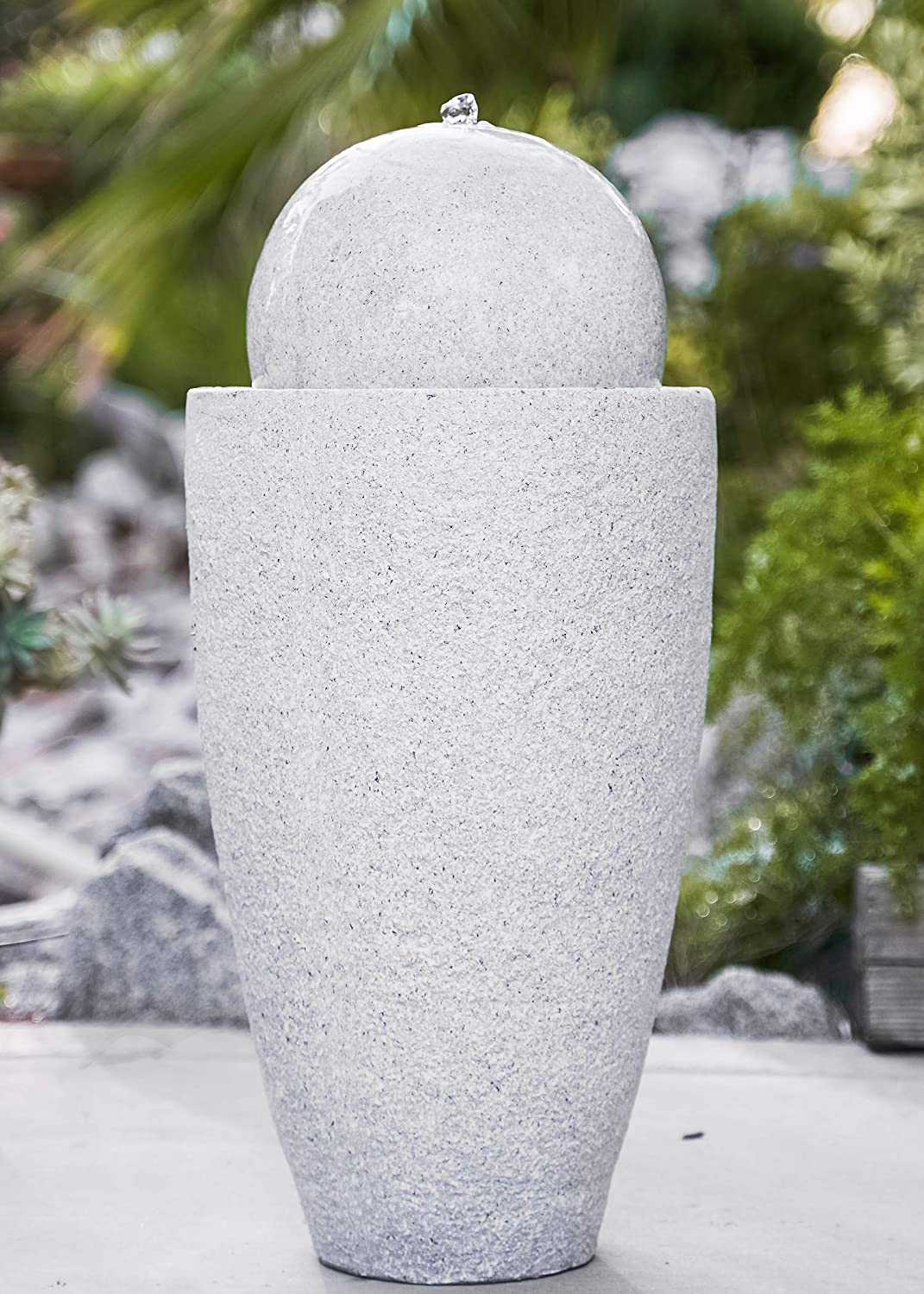 XBrand GE2612FTGR Modern Stone Textured Round Sphere Water Fountain w/LED Lights, Indoor Outdoor Décor, 25.6 Inch Tall, Grey