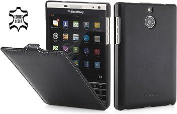 StilGut UltraSlim Case, Custodia in Pelle per Blackberry Passport Silver Edition, Nero Nappa