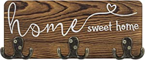 Rustic Key Holder for Wall Home Sweet Home , Pine Wood Farmhouse Key Hanger for Wall Decoration with 3 Dual Metal Hooks for Entryway 11.8x4.6 Inches