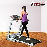 Fitifito 9000 Profi Laufband 7PS 22km/h mit LCD Bildschirm, Dämpfungssystem, 5 Trainingsmodulen inkl. HRC - Klappbar, Silber