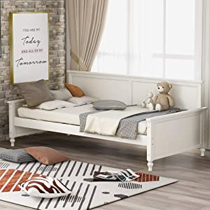 P PURLOVE Twin Size Daybed with Bulb-Shaped Feet Design Wood Bed, White