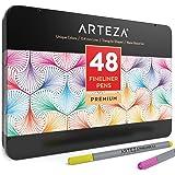 Arteza Fineliner Pens 48-Assorted-Colors Metal Gift Tin (0.4mm Tips, Set of 48)