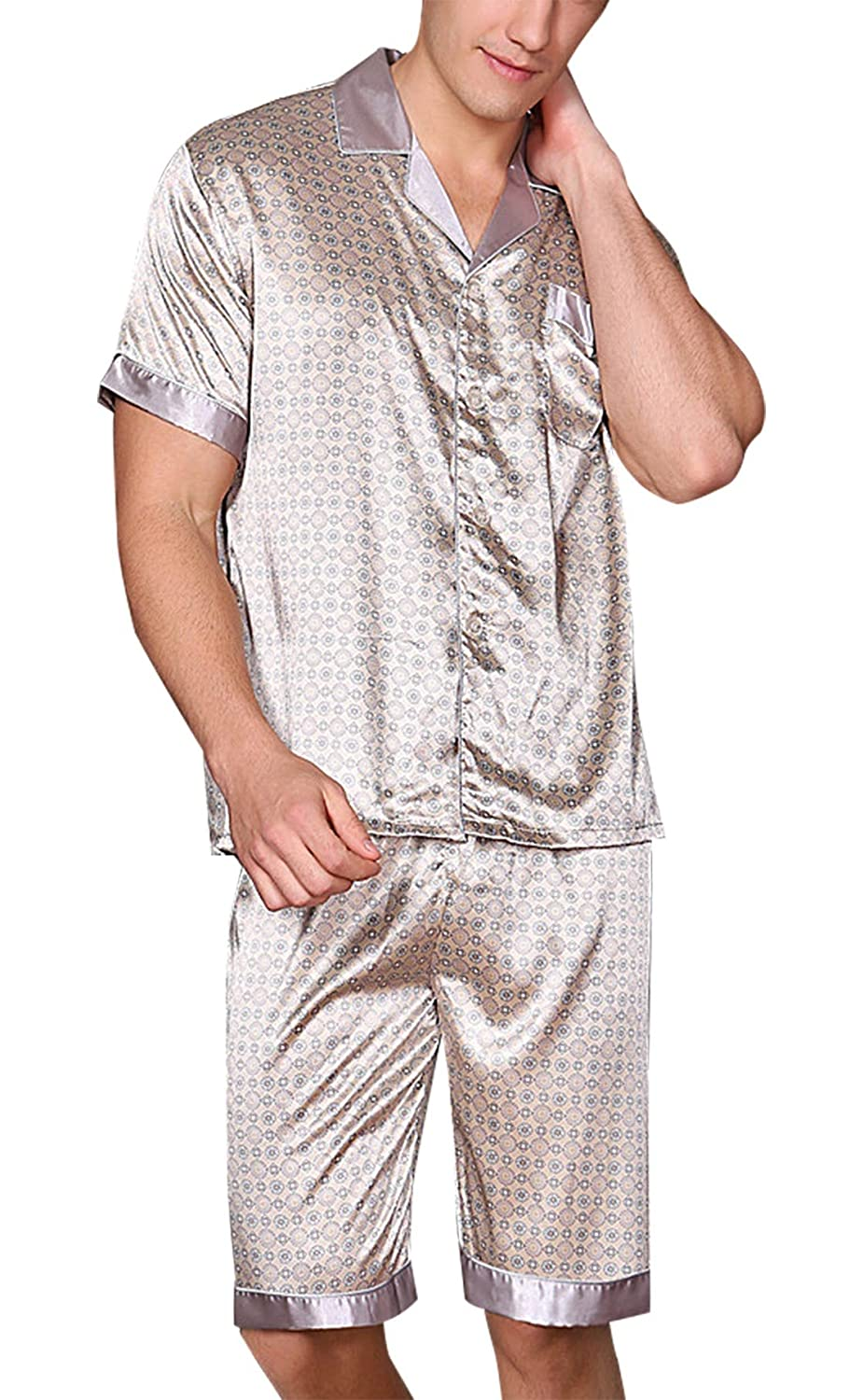 e6a65c4ac1 Yanqinger Mens Summer Sleepwear Silk Pajamas Set Button-Down Short Sleeve  Loungewear Set at Amazon Men s Clothing store