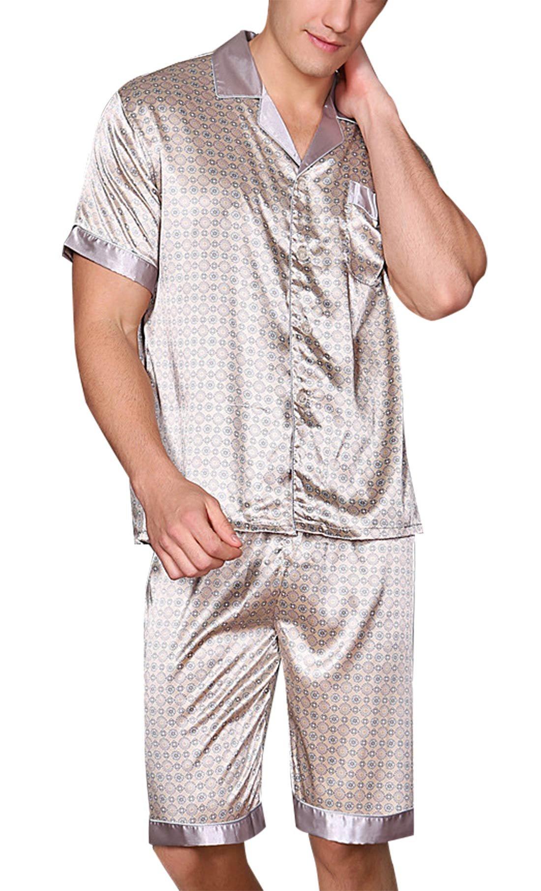 Yanqinger Men's Luxurious Summer Sleepwear Silk Pajamas Set with Shorts Soft Polyester Short Sleeve Loungewear Top & Pants Gray XXL