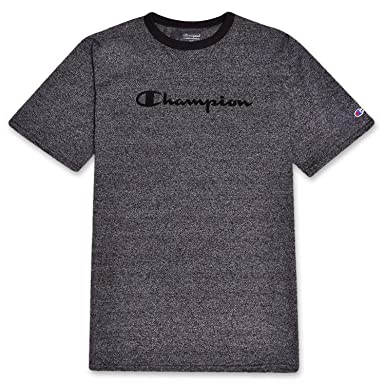 2f061c6b00cd3 Champion Mens Big and Tall Short Sleeve Ringer Tee Charcoal Marled M Tall