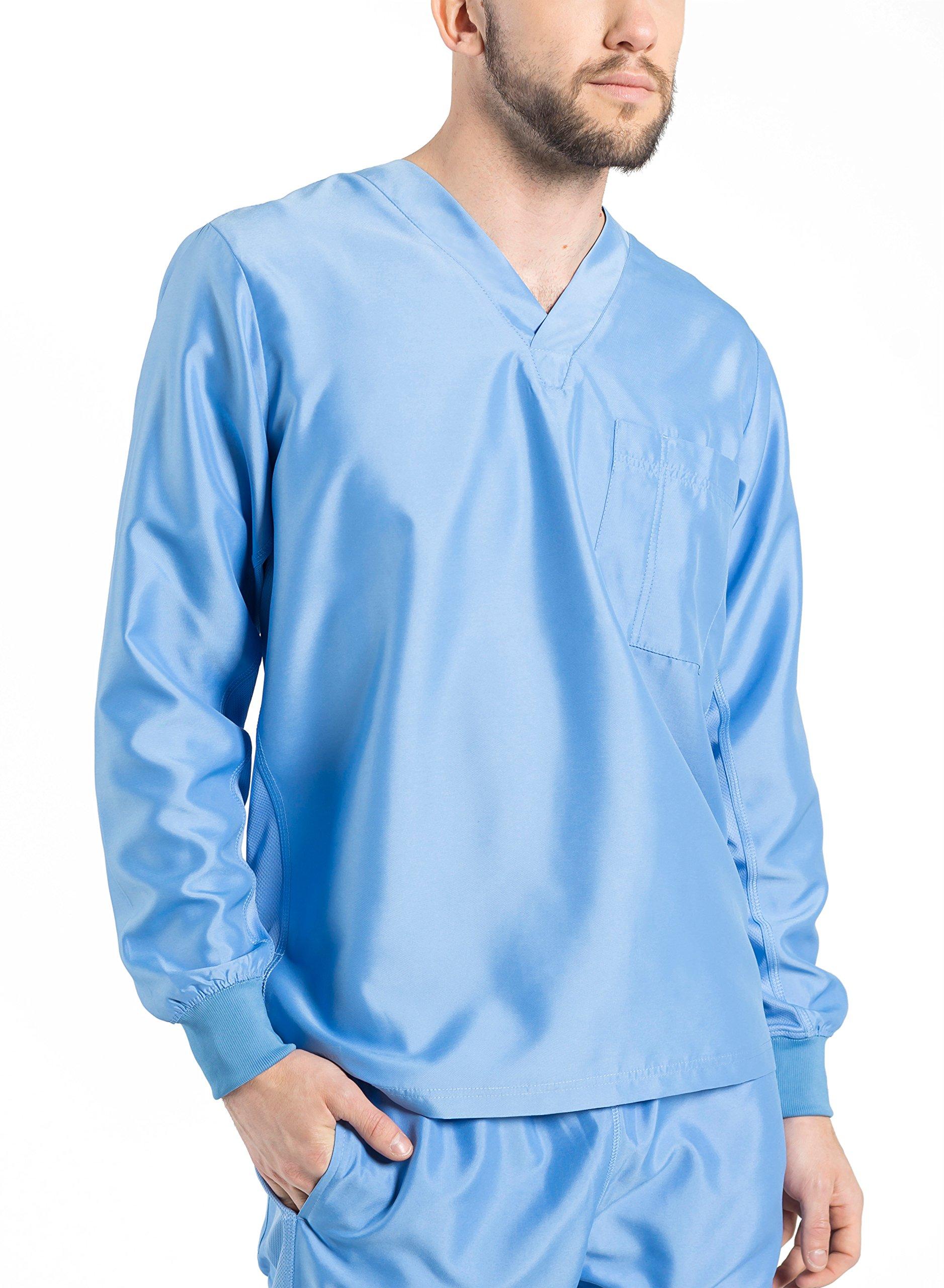 492374c9a39 TiScrubs Men's Long Sleeve Single Pocket Scrub Top (Small, Ceil Blue)