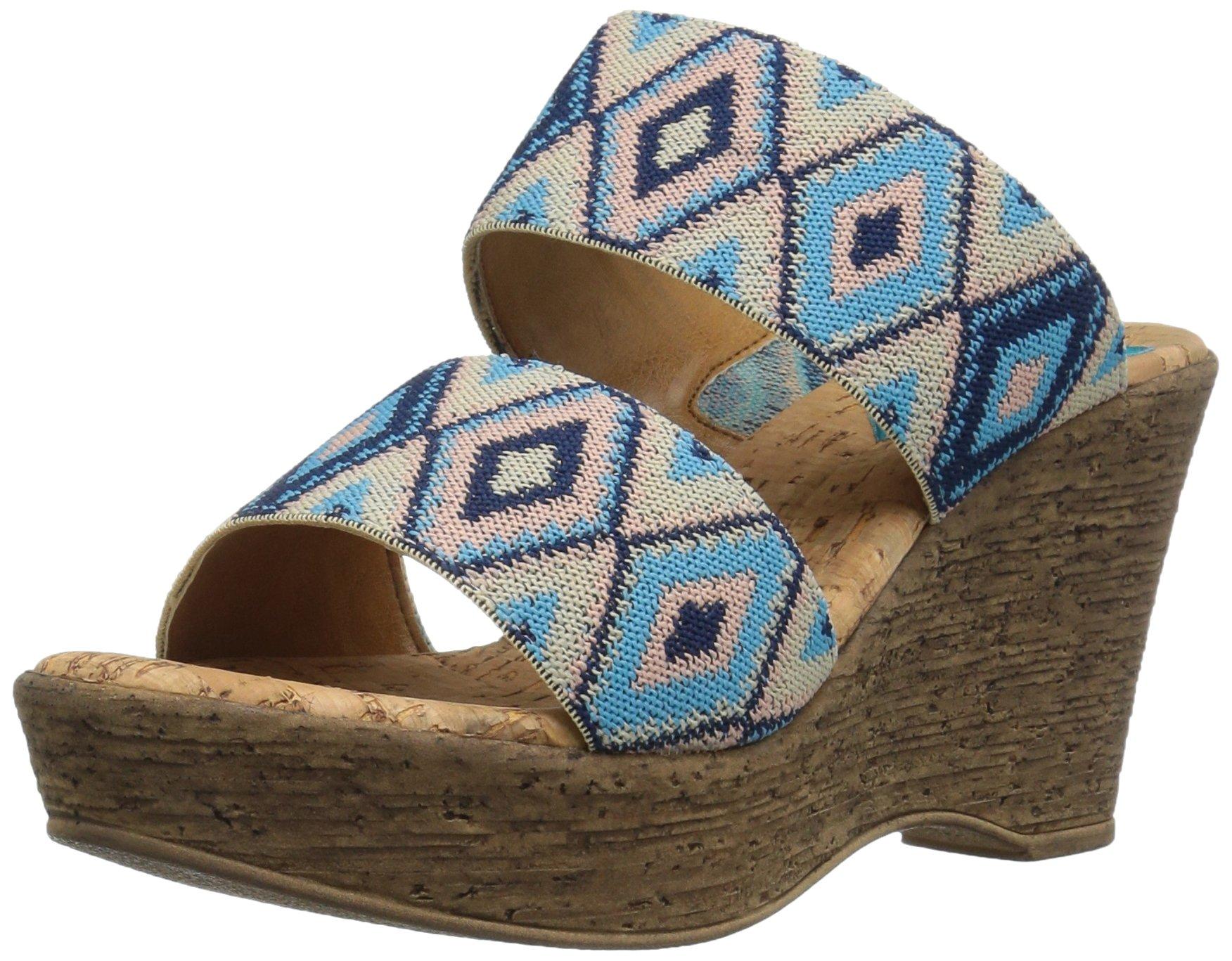 Love & Liberty Women's Sasha-LL Wedge Sandal, Blue, 6 M US