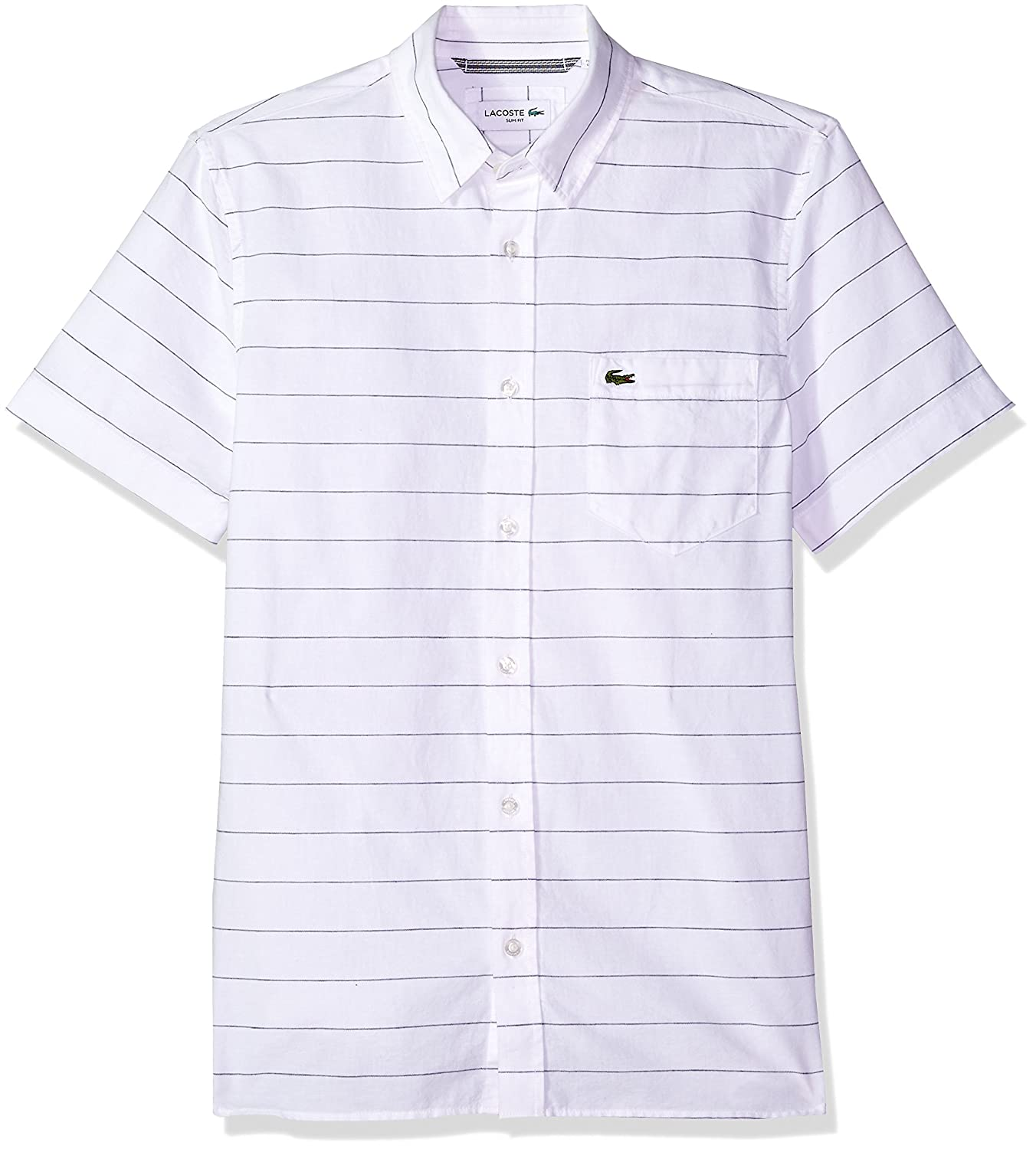 Lacoste Mens Short Sleeve Striped Button Down Collar Slim Woven Shirt, CH4966 at Amazon Mens Clothing store: