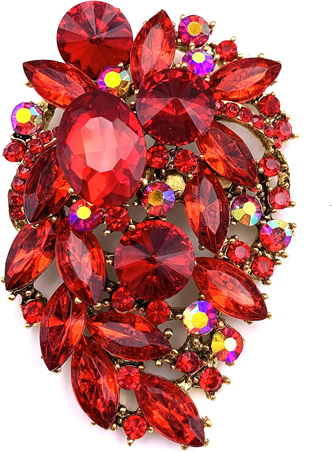 SELOVO Rhinestone Statement Brooch Pin Flower Dress Accessory