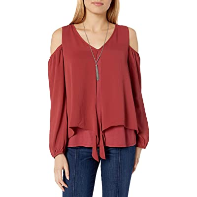 A. Byer Junior's Long Sleeve Cold Shoulder Split Front Top at Amazon Women's Clothing store