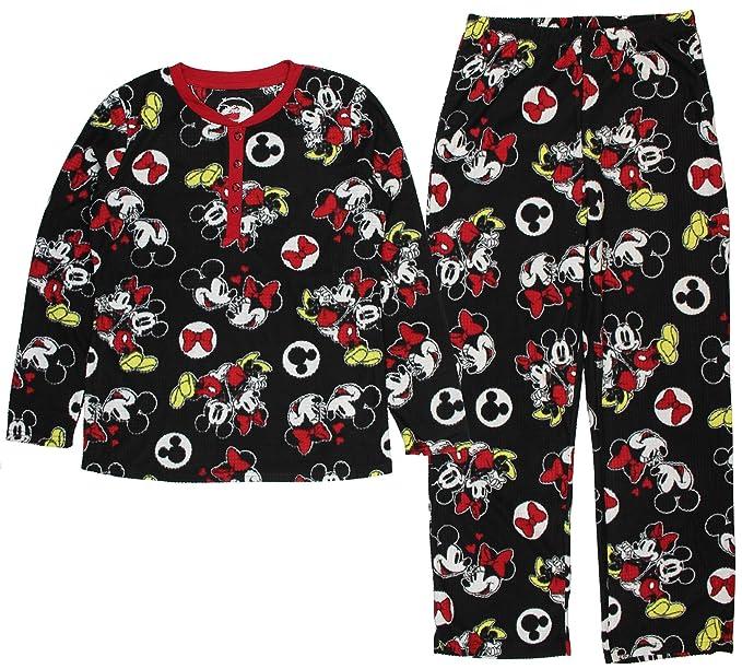 Disney Mickey Mouse de forro polar de lino juego de pijama Mujer negro negro S