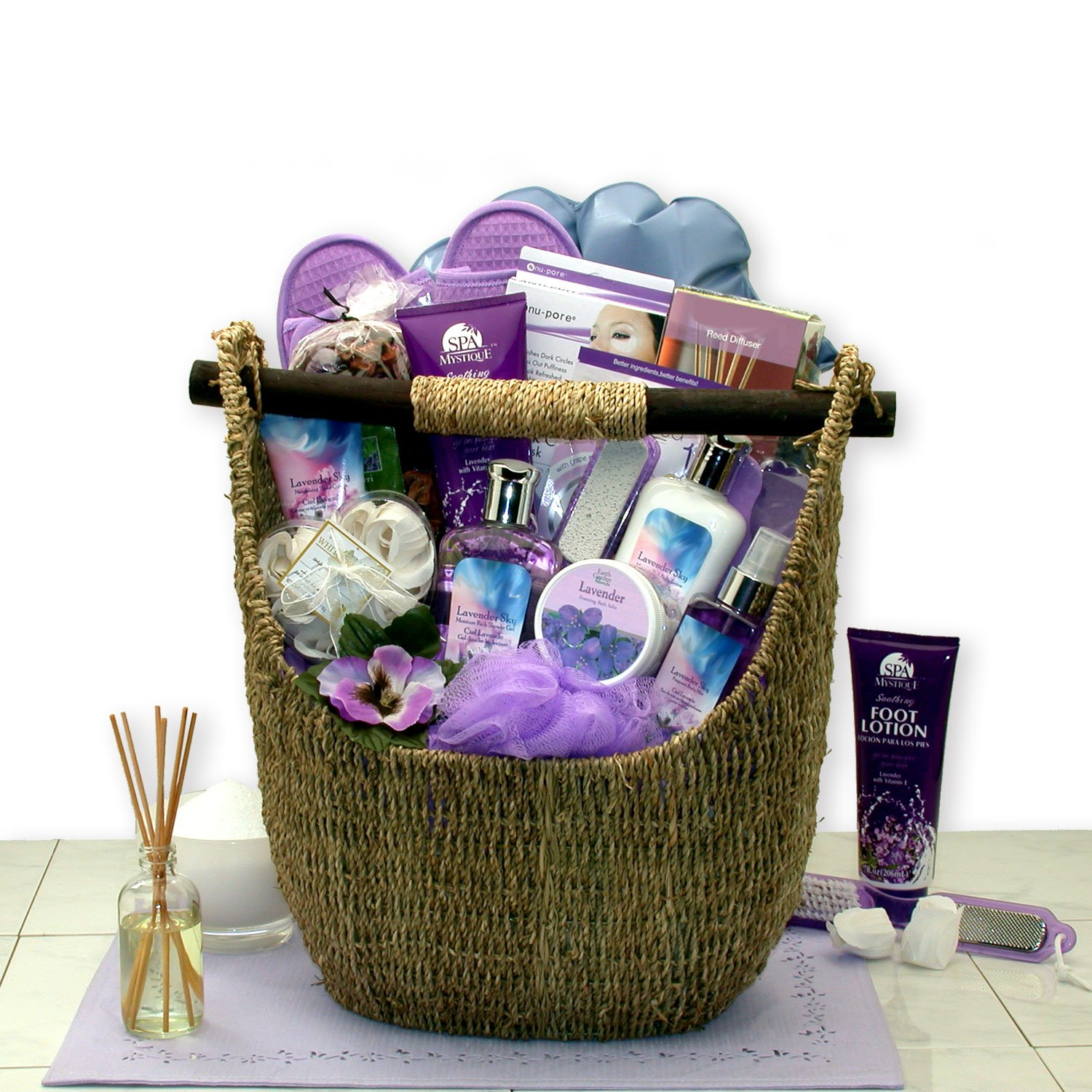Mothers Day Gift Grand Luxuries Lavender Bath & Body Tote Mothers Day Spa Gift Basket