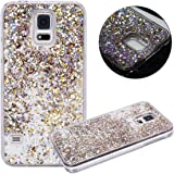 Galaxy S5 Case, Galaxy S5 Neo Case, Galaxy S5 Liquid Glitter Case,PHEZEN 3D Creative Design Shiny Quicksand Flowing Bling Glitter Sparkle Heart Clear Hard Case for Samsung Galaxy S5 - Gold Diamonds