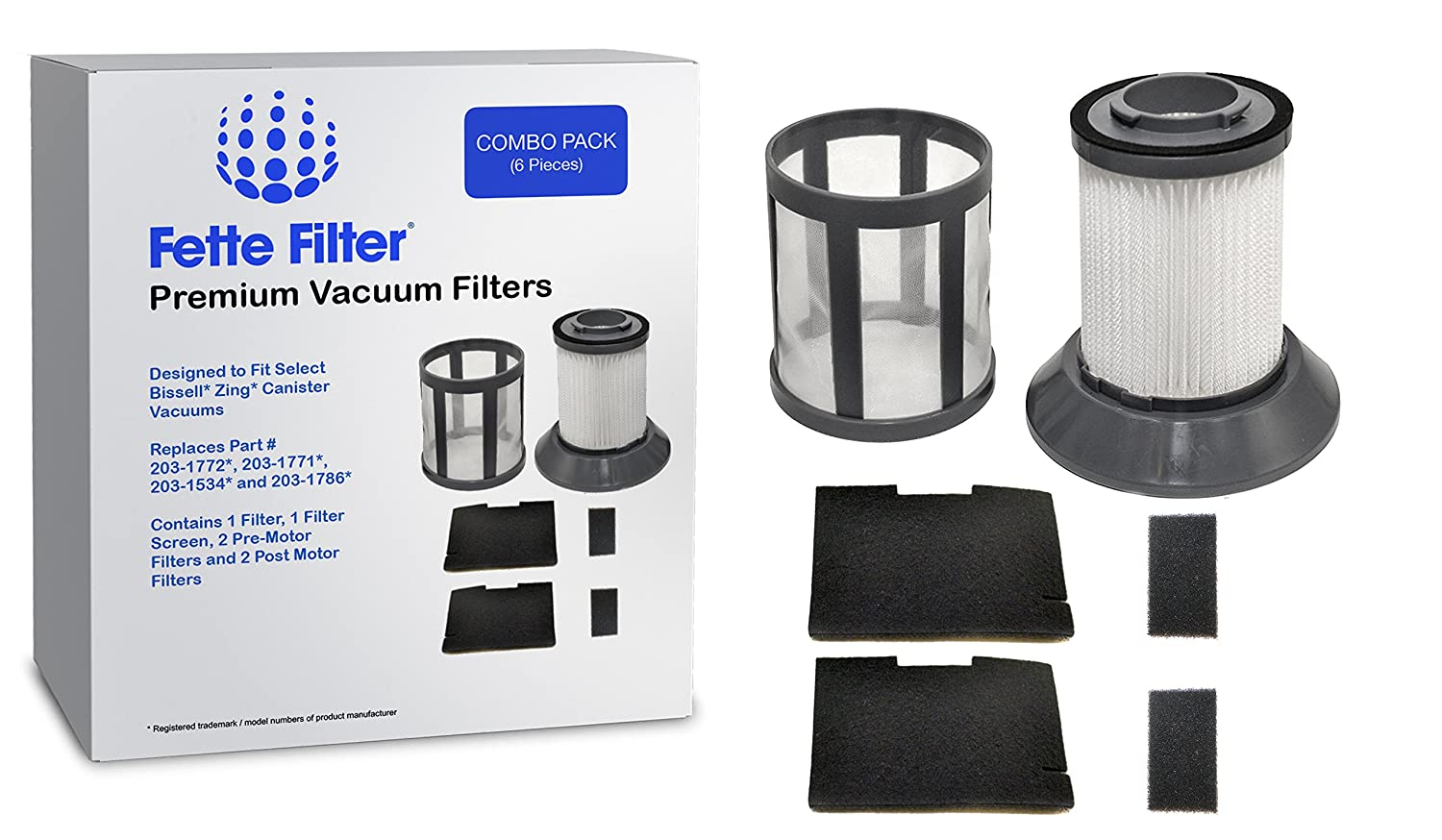 Fette Filter - Vacuum Filter Set Compatible with Bissell Zing - Compare to Part # 203-1772, 203-1771, 203-1534, 203-1786 - Combo Pack