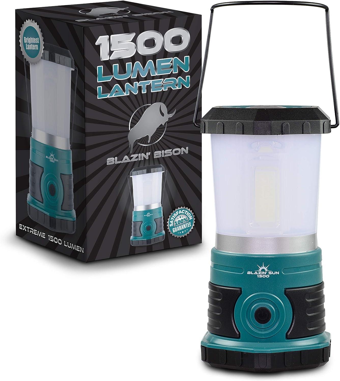 Lanterne de camping et durgence /à piles Frosted Top 800 Lumen Camp and Hurricane Lantern 1500 Lumen panne de courant et temp/ête Blazin Sun Lampe temp/ête