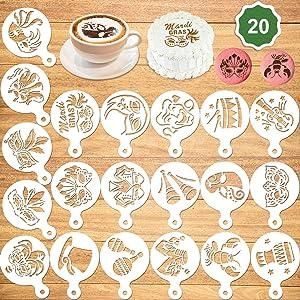 Konsait 20Pack Mardi Gras Cake Stencil Templates Decoration, Reusable Mardi Gras Cake Cookies Baking Painting Mold Tools, Dessert, Coffee Decorating Molds Cappuccino Mousse Hot Chocolate