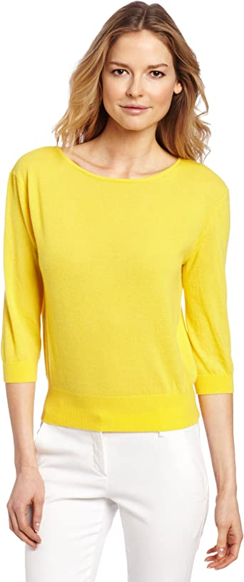 Magaschoni Women's 100% Cashmere 34 Sleeve Sweater, Canary