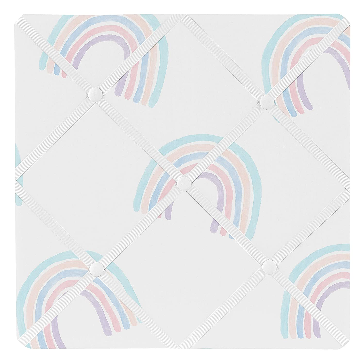 Sweet Jojo Designs Pastel Rainbow Fabric Memory Memo Photo Bulletin Board Purple Blush Pink Blue and White Teal