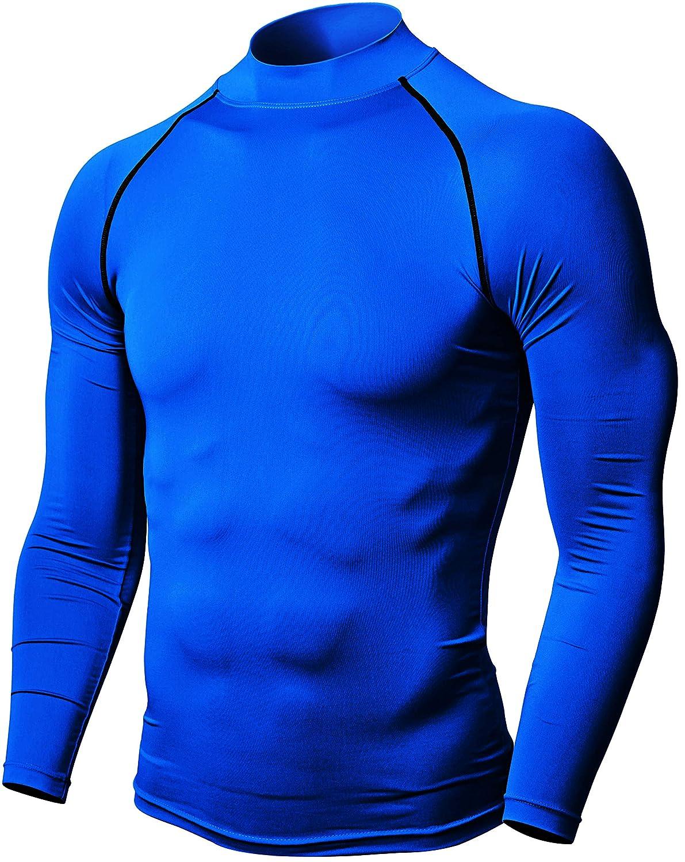 Defender Mens Quick Dry Compression Baselayer Underlayer Mock Long Sleeve T Shirts
