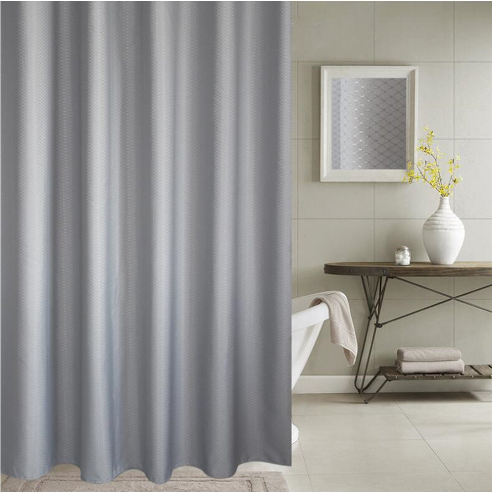 Cryseam Thick Shower Curtain Polyester Fabric 72u0027u0027X80u0027u0027 Mildew Free  Water Repellent Non Toxic, Eco Friendly, No Chemical Odor, Rust Proof  Grommets Plastic ...