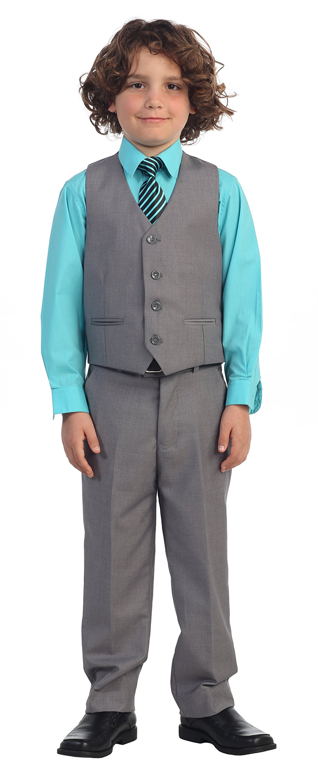 2 Piece Kids Boys Gray Vest and Pants Formal Set, 4T by Gioberti (Image #4)