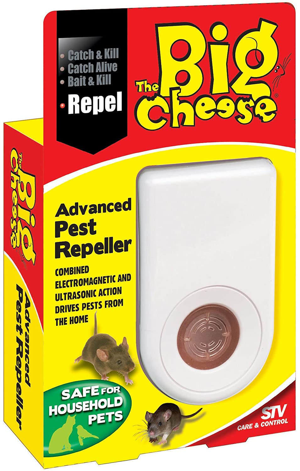 The Big Cheese Advanced Pest Repeller (Humane, Ultra-Sound, Electromagnetic Rodent Pest Deterrent Repels Rats and Mice from the Home, Pulses Through Wiring to Reach Within Walls and Ceilings) STV International STV789 Pest control Protection